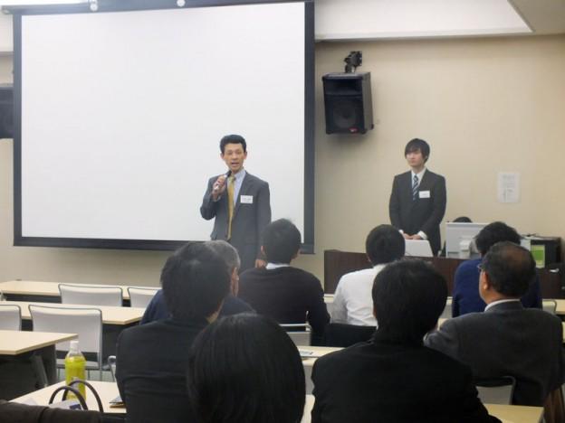 天満さん(37回生)と鍋島さん(62回生)による開会の挨拶