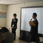 司会の小野村さん(57回生) 天満さん(37回生)